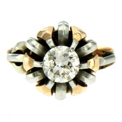 Retro 1 Carat Diamond Solitaire Multi-Color Gold Ring