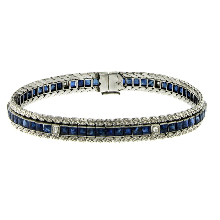 1930s Art Deco Sapphire Diamond Platinum Link Bracelet