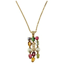 Bulgari Allegra Multi Gem Stone Gold Drop Adjustable Necklace