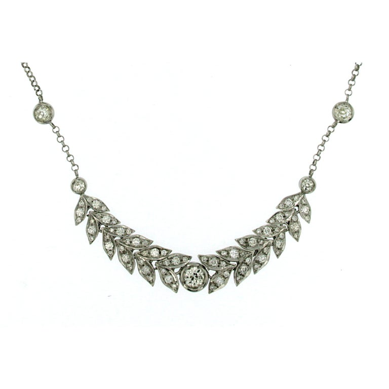 Vintage 2.50 Carat Diamond Gold Necklace