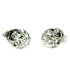 Antique Old Cut Diamonds Gold Solitaire Stud Earrings