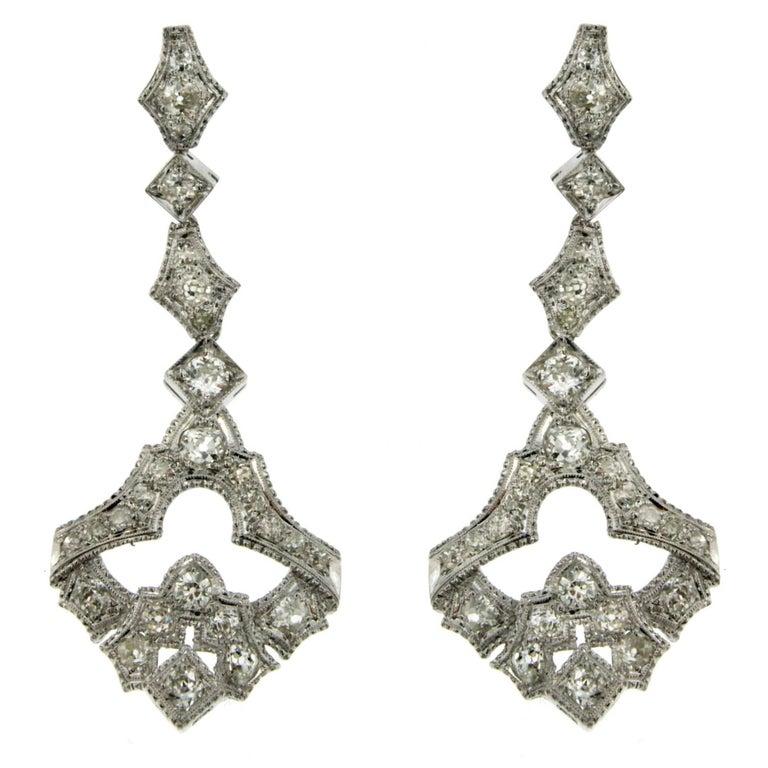1930s Art Deco 5.50 Carat Diamond Gold Drop Earrings For Sale