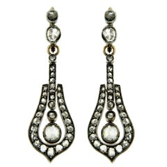 1890s Night and Day Victorian 3.5 Carat Diamond Gold Drop Earrings
