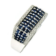 Contemporary Italian 1.50 Carat Ceylon Sapphire Diamond Gold Band Ring