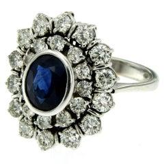Vintage 3 Carat Sapphire Diamond Gold Ring