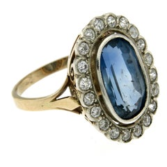GIA Certified 8.79 Carat Sapphire No Heat Diamond Gold Cluster Antique Ring