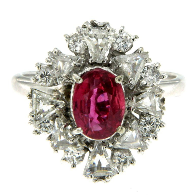 Estate AGL Certified 1.55 Carat Ruby Diamond Gold Cluster Ring