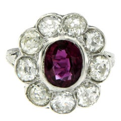 Antique 1900s Natural Ruby Diamond White Gold Cluster Ring