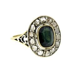 Victorian 4 Carat Sapphire Diamond Gold Ring