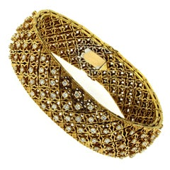 Estate Italian Diamond Gold Flexible Bracelet
