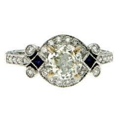 Art Deco Diamond Sapphire Gold Engagement Ring