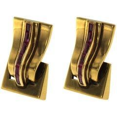 1950 Retro Italian Ruby Gold Earrings
