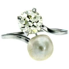 Antique Diamond Pearl Gold Vous et Moi Ring