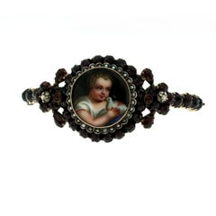 Georgian Garnet Gold Frame Bracelet