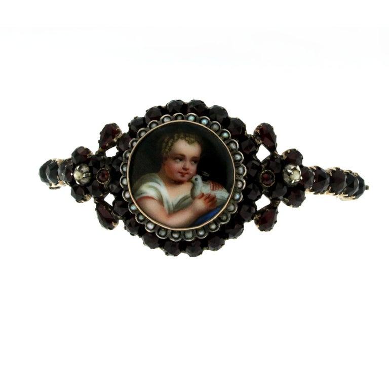 Georgian Garnet Gold Frame Bracelet For Sale At 1stdibs