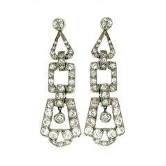 Art Deco 6.50 Carat Diamond Gold Drop Earrings, 1930s