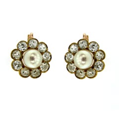 1890 Diamond 5 Carat Gold Pearl Cluster Earrings
