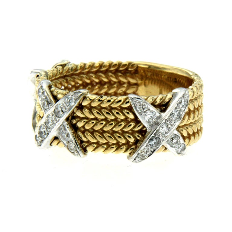 Contemporary Rope Design Diamond Gold Band Ring For Sale