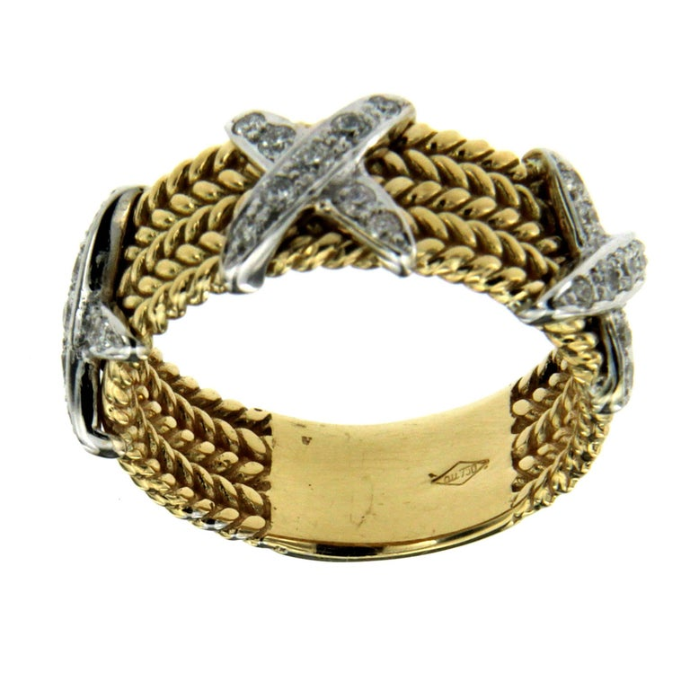 Rope Design Diamond Gold Band Ring In New Condition For Sale In Napoli, Italy