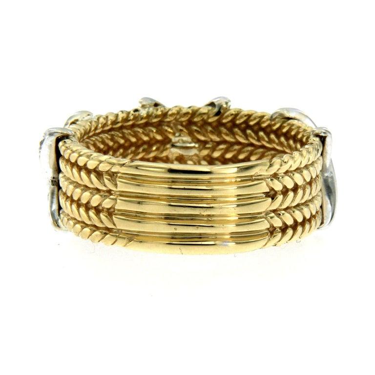 Women's or Men's Rope Design Diamond Gold Band Ring For Sale