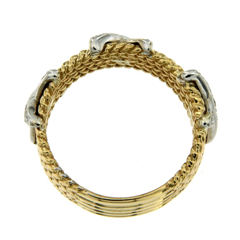 Rope Design Diamond Gold Band Ring For Sale 1