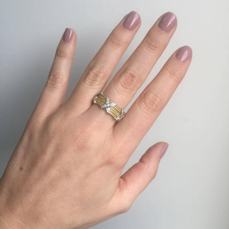 Rope Design Diamond Gold Band Ring For Sale 2