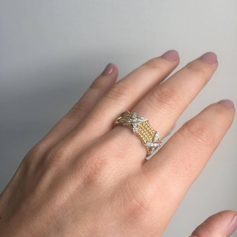 Rope Design Diamond Gold Band Ring For Sale 3