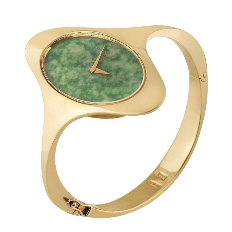 Chopard Yellow Gold Nephrite Jade Dial Bangle Bracelet Wristwatch  1
