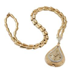 Omega Lady's Hammered Yellow Gold Pendant Necklace WristWatch