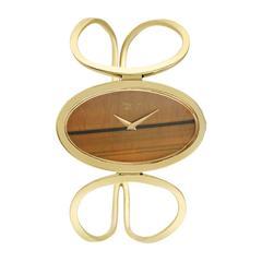 Chopard Ladies Yellow Gold Tiger's Eye Dial Bangle Bracelet Wristwatch