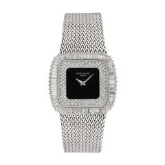 Patek Philippe White Gold Baguette Diamond Onyx Bracelet Wristwatch