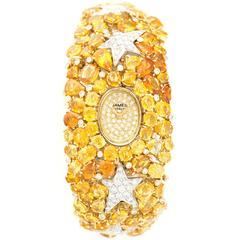 Diamond  Sapphire Yellow Gold Bracelet Watch by James Italy