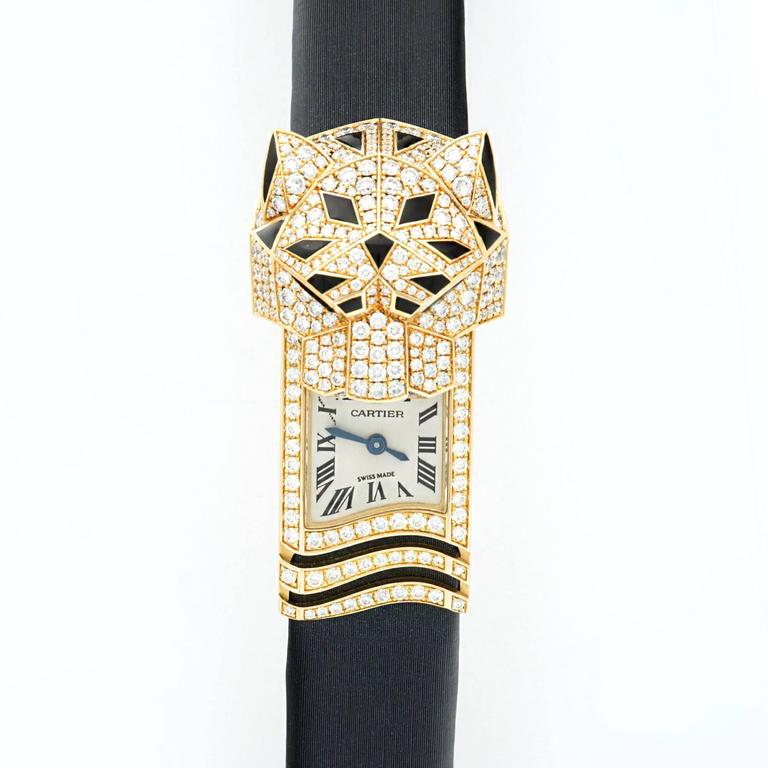 Lady's Cartier Panthere Secrete Yellow Gold Diamond Cover Watch