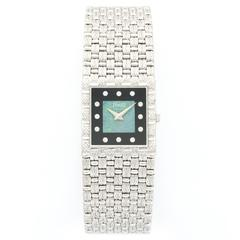 Piaget White Gold Diamond Onyx Opal Bracelet Wristwatch