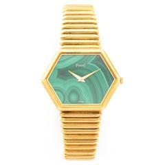 Piaget Yellow Gold Malachite Manual Wind Wristwatch