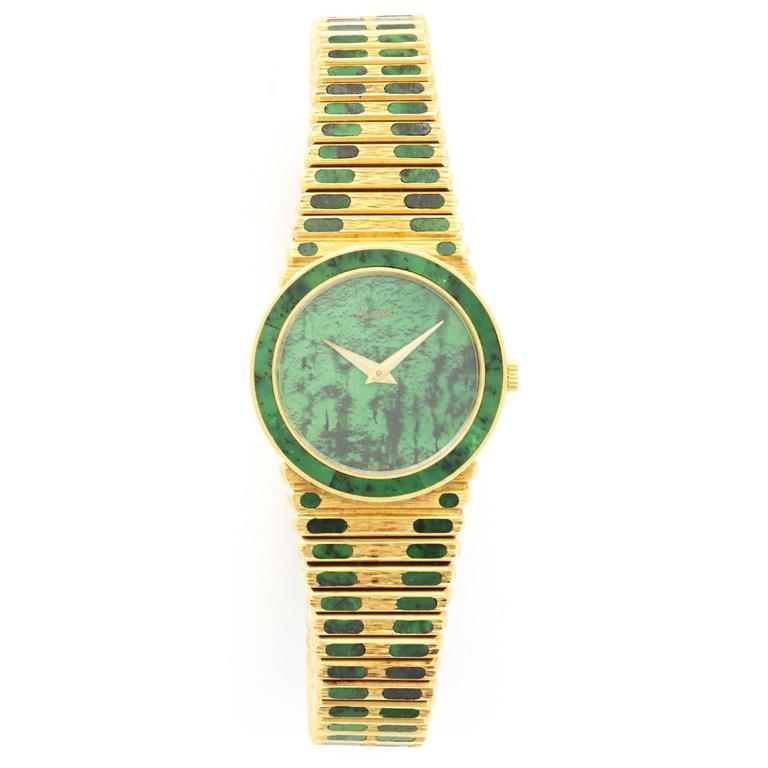 Piaget Ladies Yellow Gold Nephrite Jade Bracelet Wristwatch For Sale