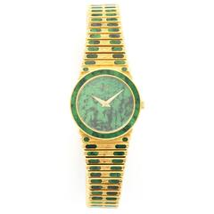 Piaget Ladies Yellow Gold Nephrite Jade Bracelet Wristwatch