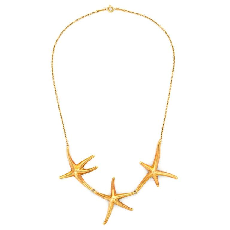 72d270d68 Tiffany & Co. 18 Karat Yellow Gold Elsa Peretti Starfish Necklace For Sale