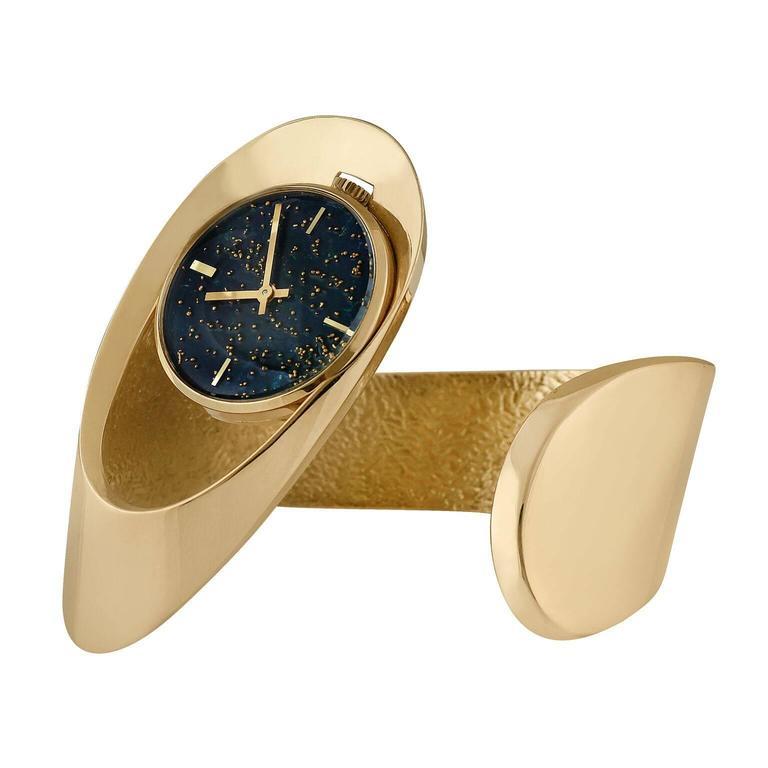 Gubelin Lady's Yellow Gold Free-Form Sculptural Bangle Bracelet Wristwatch