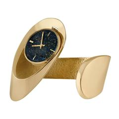 Gubelin Lady's Yellow Gold Free-Form Sculptural Bangle Bracelet Wristwatch