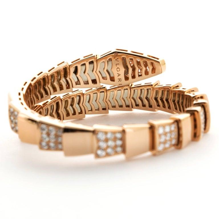 Modern Bulgari Rose Gold Serpenti Diamond Bracelet For Sale