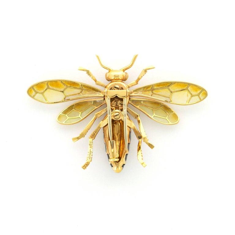 Modern Cartier Paris Plique-a-Jour Enamel Gold Bee Brooch For Sale