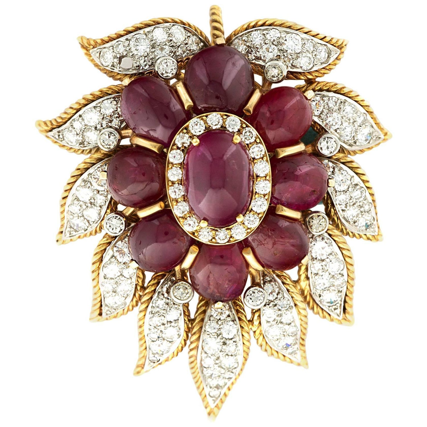 Van cleef amp arpels vca 18k yellow gold ruby cabochon amp diamond - Van Cleef Amp Arpels Paris Diamond Ruby Cabochon Gold Leaf Brooch