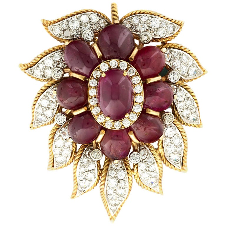 Van Cleef & Arpels Paris Diamond Ruby Cabochon Gold Leaf Brooch