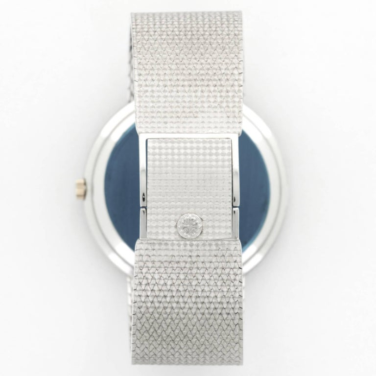 Patek Philippe White Gold Diamond Wristwatch Ref 3588, Circa 1970s In Excellent Condition For Sale In Beverly Hills, CA