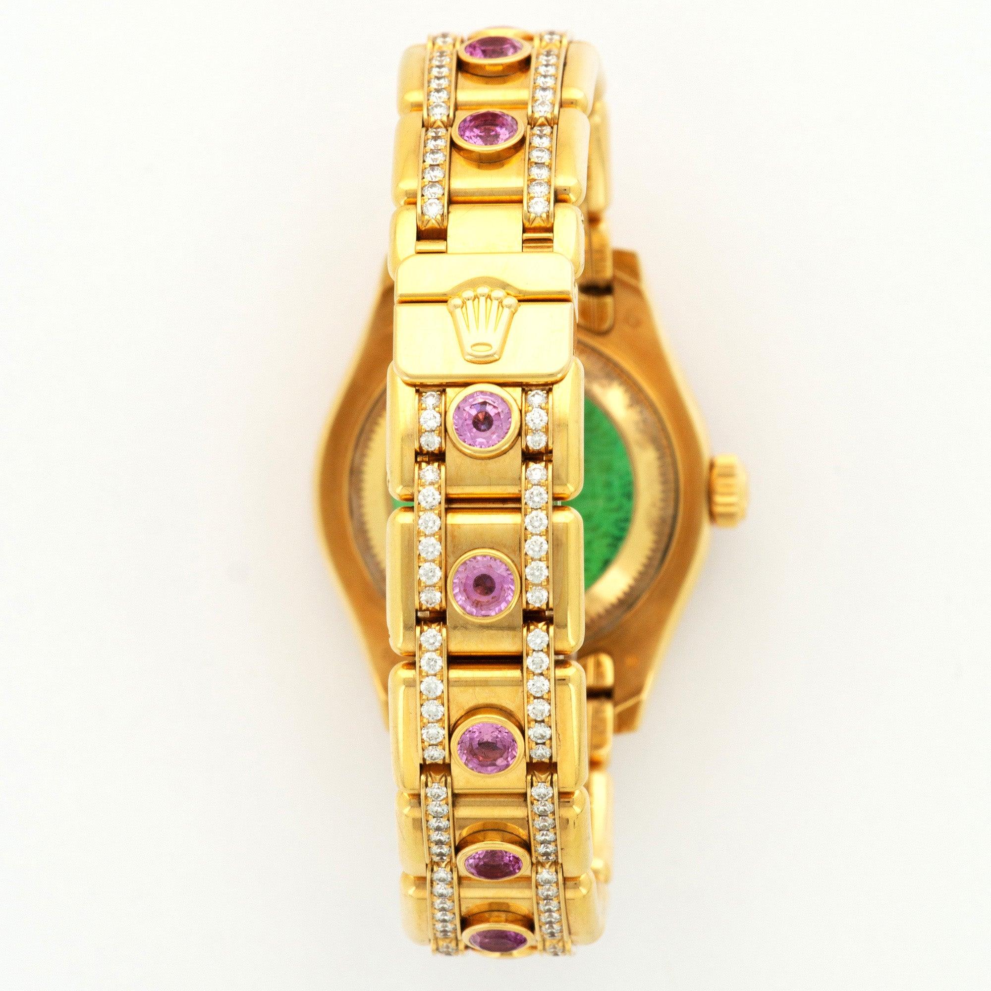 Rolex Yellow Gold Diamond Sapphire Datejust Pearlmaster Automatic