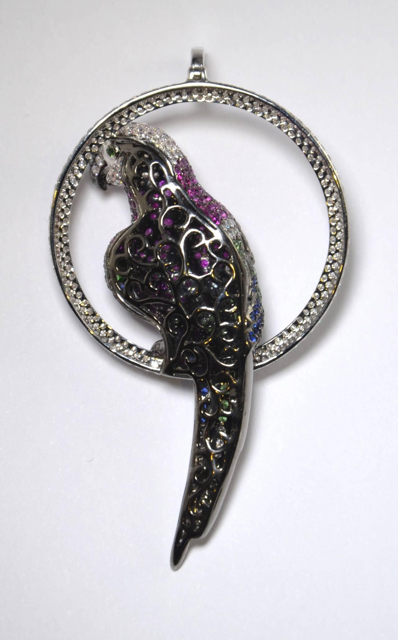 Tsavorite Sapphire Diamond Gold Parrot Pendant 2