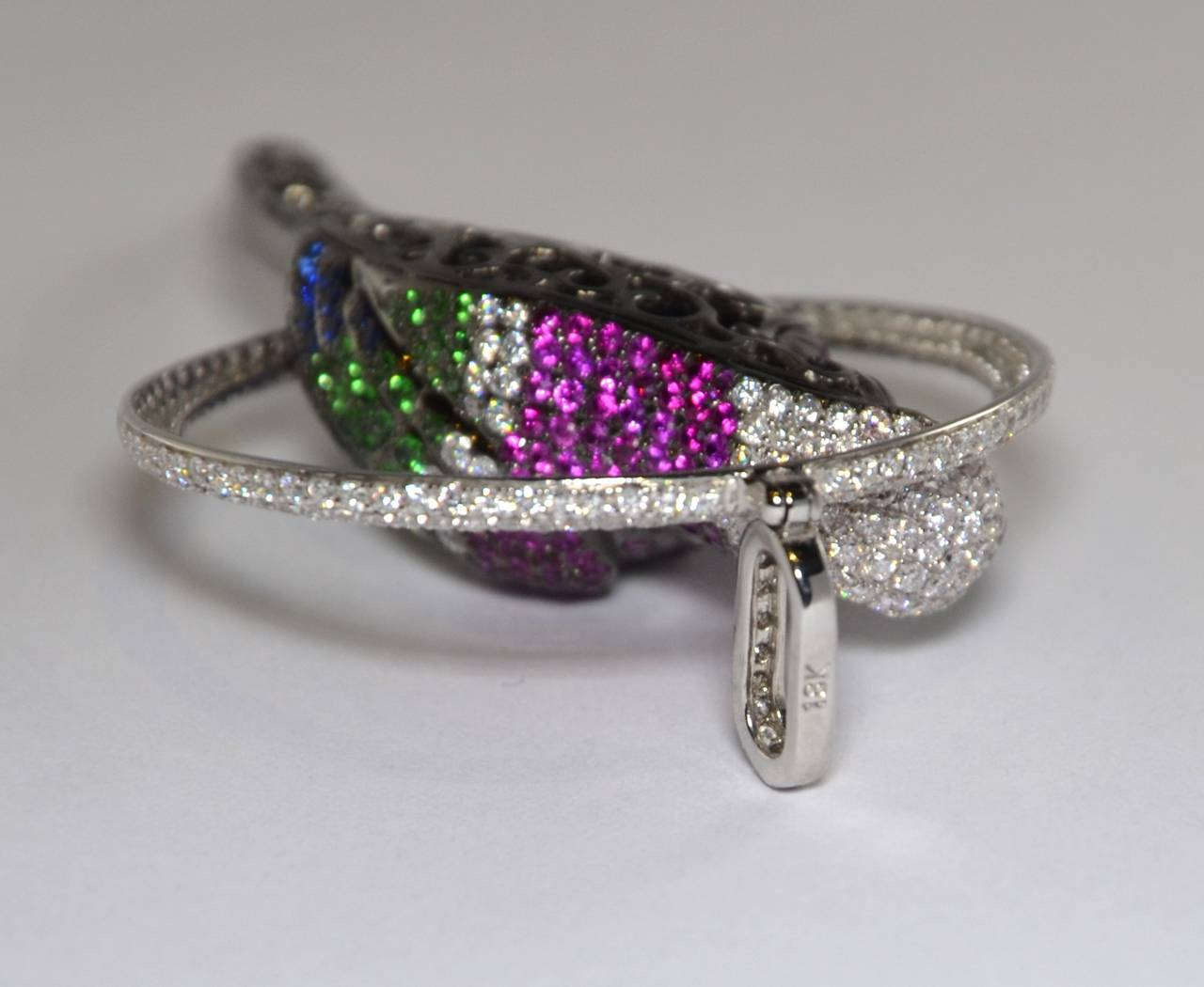 Tsavorite Sapphire Diamond Gold Parrot Pendant 4