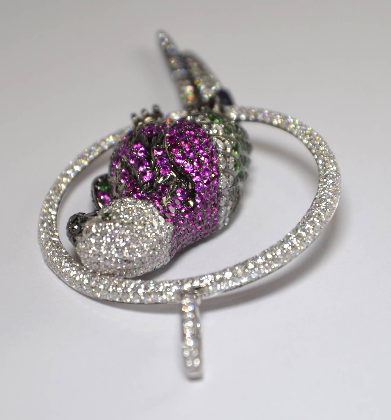 Tsavorite Sapphire Diamond Gold Parrot Pendant 5