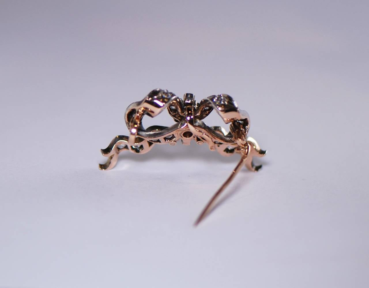 Women's Antique Diamond Bow Brooch For Sale